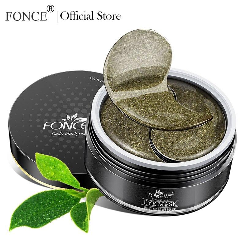 Máscara de olho de colágeno de chá preto coreano 60 peça melhor para sacos sob os remendos de olho orgânico natural remover círculos escuros cuidados com a pele