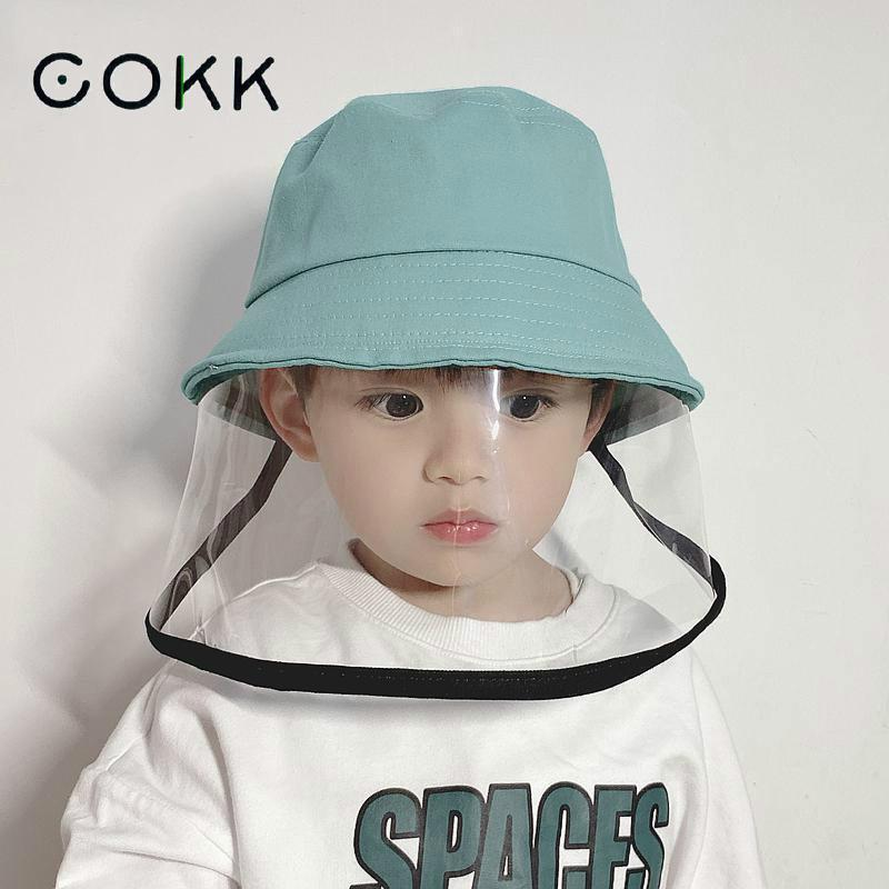 COKK Mask Hat For Girl Boy Protection Face Mask Bucket Hat Anti-Spitting Splash Waterproof Windproof Hat Mask Outdoor Kids Safe