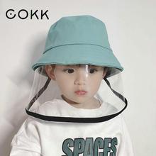 Cokk máscara chapéu para menina menino proteção máscara facial balde chapéu anti cuspir respingo impermeável à prova de vento chapéu máscara ao ar livre crianças cofre