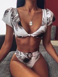 2020 nadruk w stylu vintage bikini dwuczęściowe wysokiej talii stroje kąpielowe kobiety strój kąpielowy tankini mujer strój kąpielowy Badpak dames 3