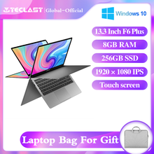 "Teclast mais novo portátil f6 plus 13.3 ""notebook 1920 × 1080 ips gemini lago n4100 windows10 8gb lpddr4 256gb ssd 360 ° rotação toque"