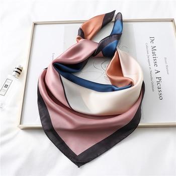 2020 New Design Women Silk Scarf Square Neck Shawls Foulard Lady Pashmina Solid Geometric Bandana Hair Band Kerchief - discount item  19% OFF Scarves & Wraps