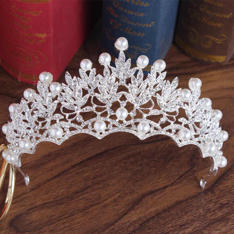 Luxe Bruid Crystal Parel Bloem Kostuum Sieraden Sets Strass Choker Ketting Oorbellen Tiara Kroon Vrouwen Bruiloft Sieraden Set