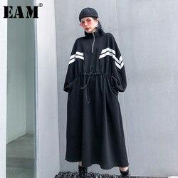 Женское длинное платье в полоску [EAM], длинное платье большого размера с воротником-стойкой и длинным рукавом, свободный крой, весна-осень 2020 ...