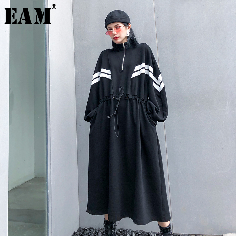 [EAM] Women Striped Drawstring Big Size Long Dress New Stand Collar Long Sleeve Loose Fit Fashion Tide Spring Autumn 2020 1K847
