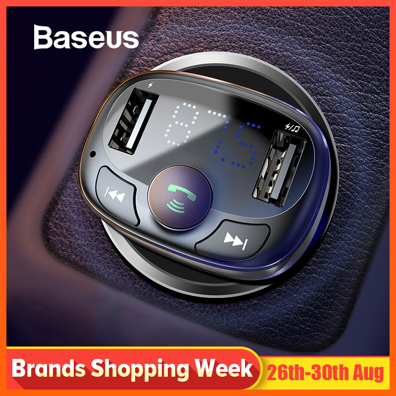 Baseus Car Charger for iPhone Mobile Phone Handsfree FM Transmitter Bluetooth Car Kit LCD MP3 Player Dual USB Car Phone Charger tartan