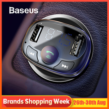 цена на Baseus Car Charger for iPhone Mobile Phone Handsfree FM Transmitter Bluetooth Car Kit LCD MP3 Player Dual USB Car Phone Charger
