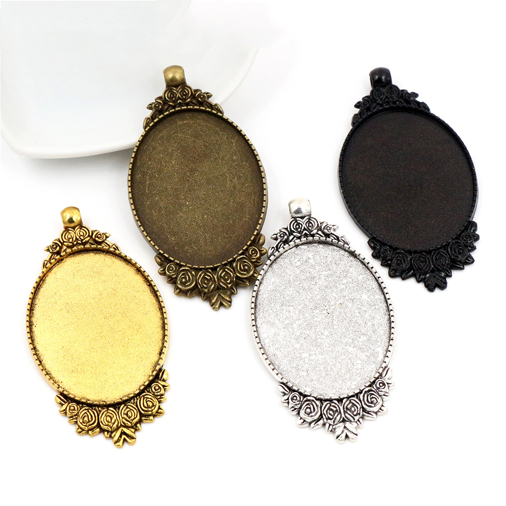 New Fashion 5pcs 30x40mm Inner Size 4 Colors Plated Flowers Style Cabochon Base Setting Charms Pendant