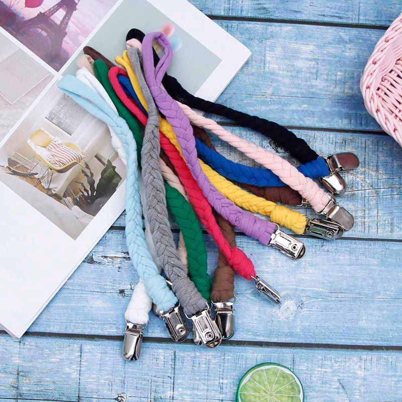 Cotton Baby Pacifier Chain Clips Braided Belt Dummy Clip Nipple Holder Soother Chain For Infant Baby Accessories