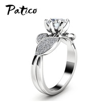 Europe Style Creative New Design Flower 925 Sterling Silver Rings For Women Cubic Zirconia Friendship Gift Rhinestone Jewelry