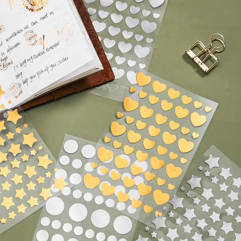 6 Sheet/set Gold Foil Stationery Stickers Heart Star Shape Stickers Decorative Adhesive Stickers For Scrapbooking Diary Albums