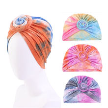 Muslim twisted knot tie dyed turban caps women elastic chemo