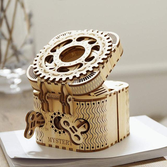 Robotime 123pcs Creative DIY 3D Treasure Box Wooden Puzzle Game Assembly Toy Gift for Children Teens Adult LK502 5