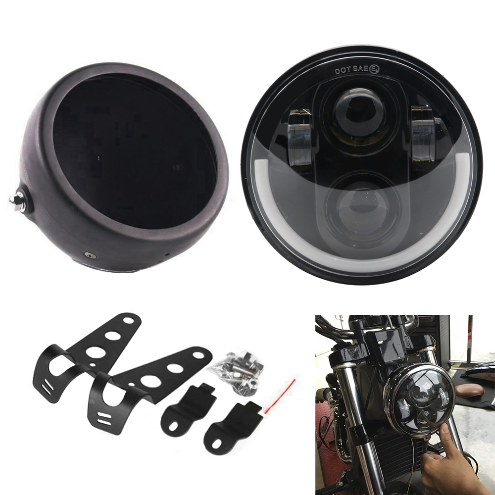 5.75 Inch Round Motorcycle Headlight Headlamp With Lamp Housing And Headlight Brackets Led Headlight For 5.75 Light Motor Models