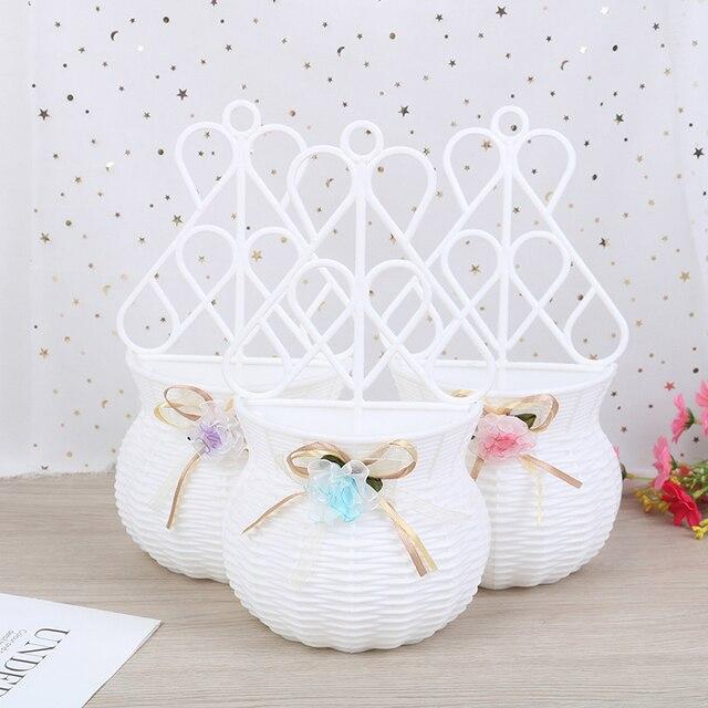 Artificial Flower Hanging Basket Vase Rattan Wall Hanging Small Artificial Rattan Flower Basket For Home Decoration Color Random 3