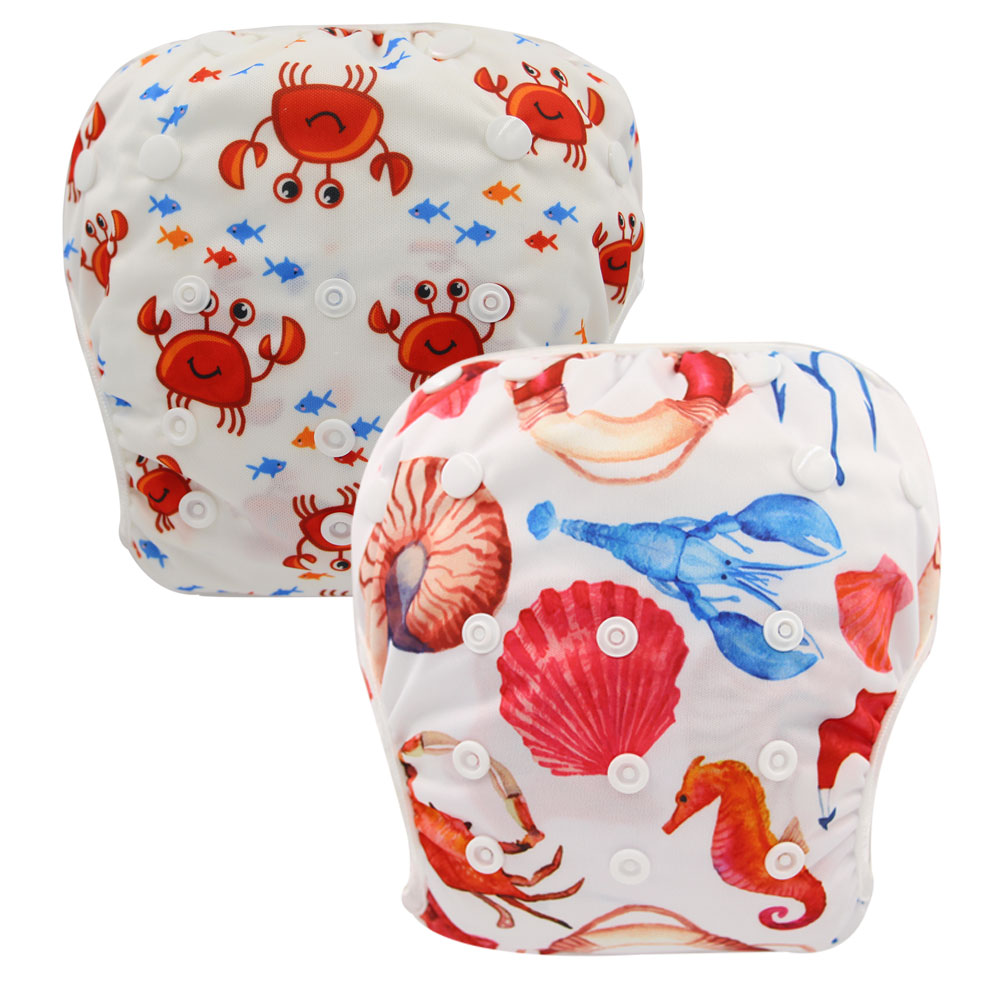 Washable Swim Diapers For Babies Pool Diaper Adjustable Baby Swimming Diaper Cover Character Nappies