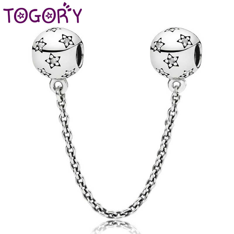 TOGORY kristal yıldız boncuk güvenlik zinciri suni elmas zincir Fit 3mm Charm Pandora bilezik bileklik DIY kadınlar takı yapımı