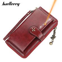 Customized Women Wallets Name Engraving Fashion Long PU Leather Quality Card Holder Classic Female Purse Zipper Wallet For Women