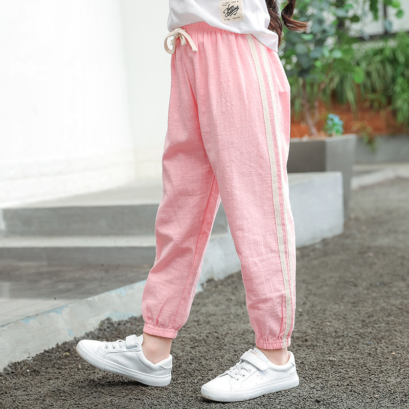 Toddler baby clothing cotton linen mosquito net pants kids sun protection pants summer seven-color boys and girls sweatpants 202