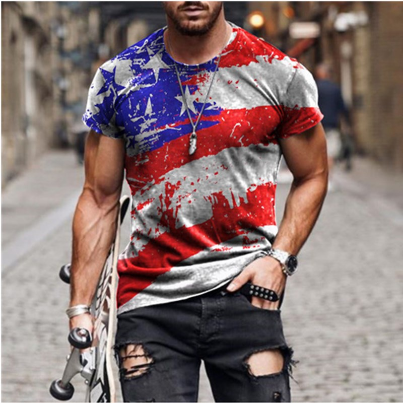 2021 summ men Stars and Stripes print T-shirt Popular Round neck short sleeve fashion street wear T-shirt tops