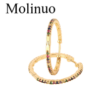 Molinuo gold color top quality 30mm colorful cz hoop multi stone romantic gorgeous women ladies rainbow earring