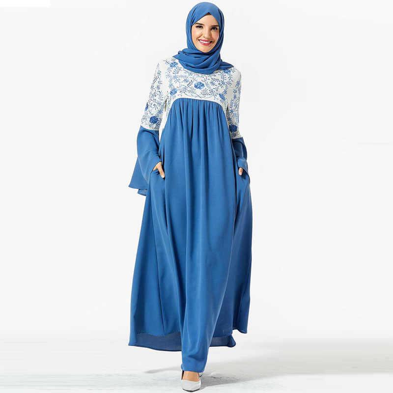 Robe femme brodée traditionnelle abaya ethnique Ukraine Maxi Robe musulmane épissure cloche manches Islam Indie Folk grande Robe trapèze