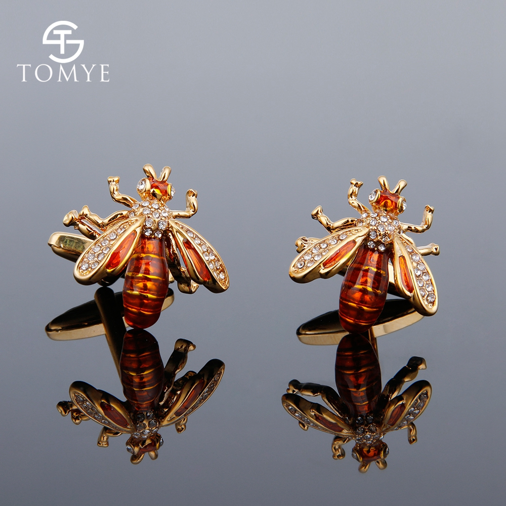 TOMYE Unisex Cufflinks Shirt High Quality Gold Silver Bee Crystal Wedding Gift Cuff Links for mens XK18S394