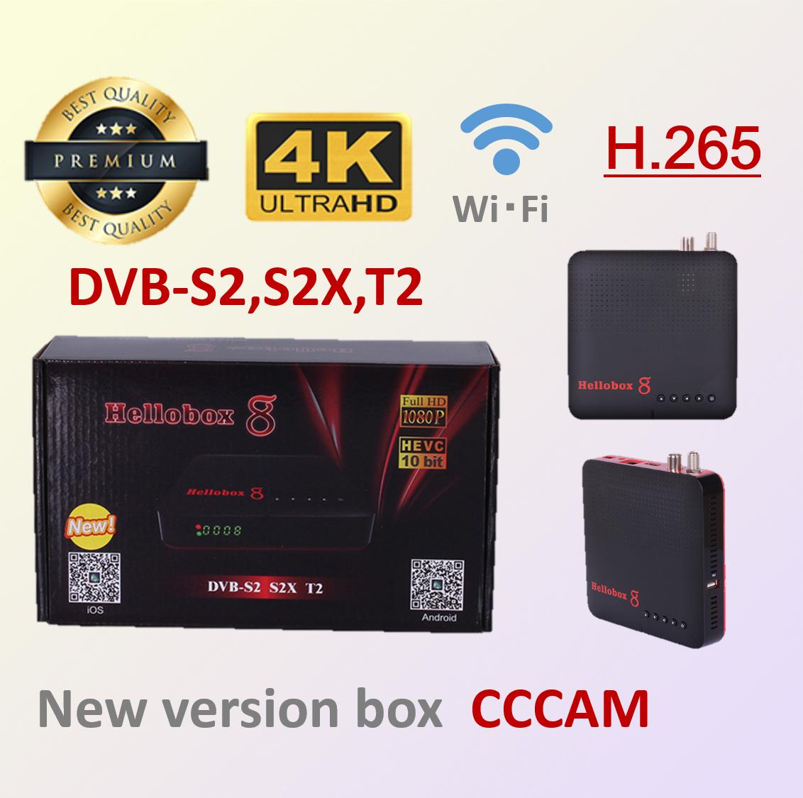 Hellobox 8 Satellite TV Receiver DVB-T2 / S2 / S2X TV Tuner Support Mobile Phone Play Satellite TV Receiver Support Spain Brazil