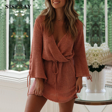 2019 Sexy Cross Over V Neck Knit Short Dress Lace Up Flare Sleeve Drawstring Autumn Knitted Dress Women Solid Ladies Tunic Dress