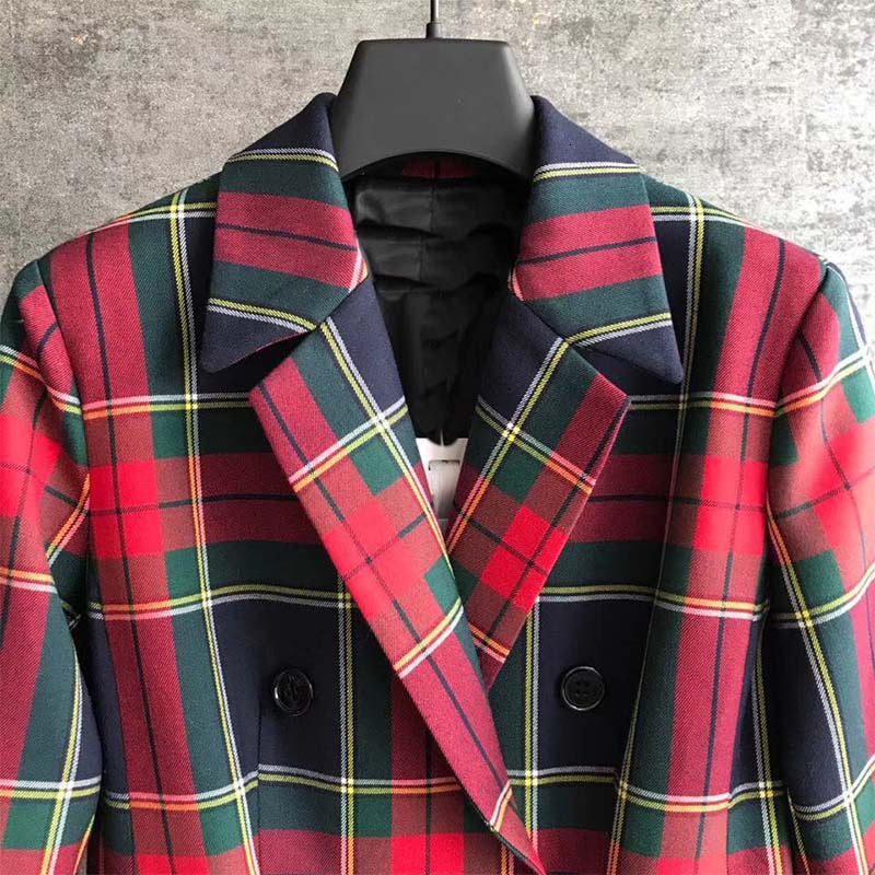 Image 3 - Cosmicchic 2109 Autumn Winter Women Red Plaid Wool Blazer Double Breasted Vintage Runway Design Blazer Coat Lady Office OutwearBlazers   -