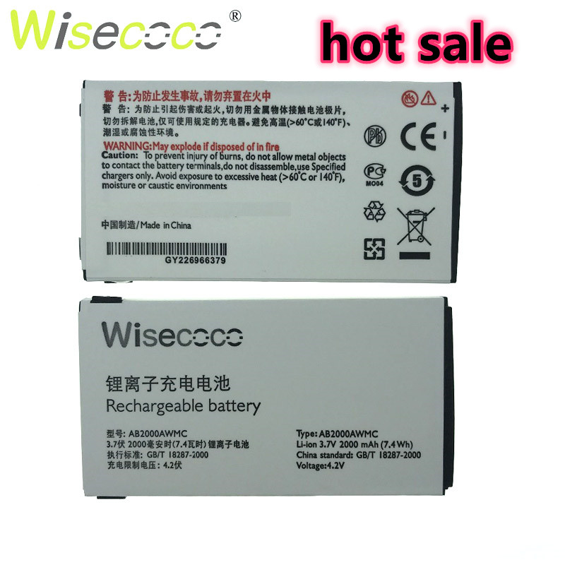 Wisecoco NEW 2000mAh AB2000AWMC Battery For PHILIPS X130/X523/X513/X501/X623/X3560/X2300/X333 With Tracking Number