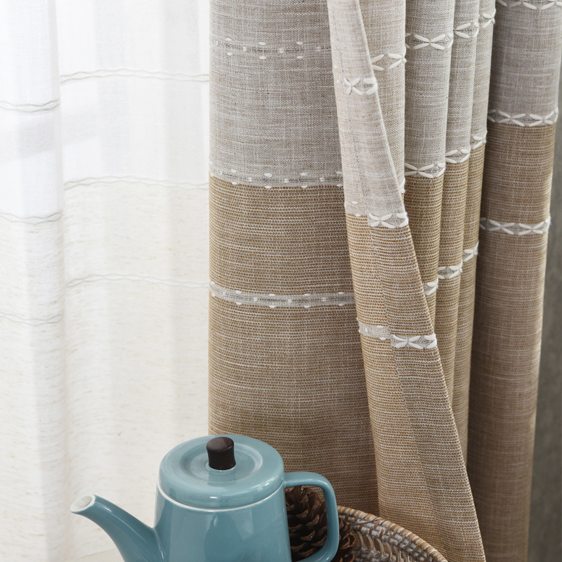Simple Modern Cotton Hemp Nordic Wind Shading Curtains for Living Dining Room Bedroom.