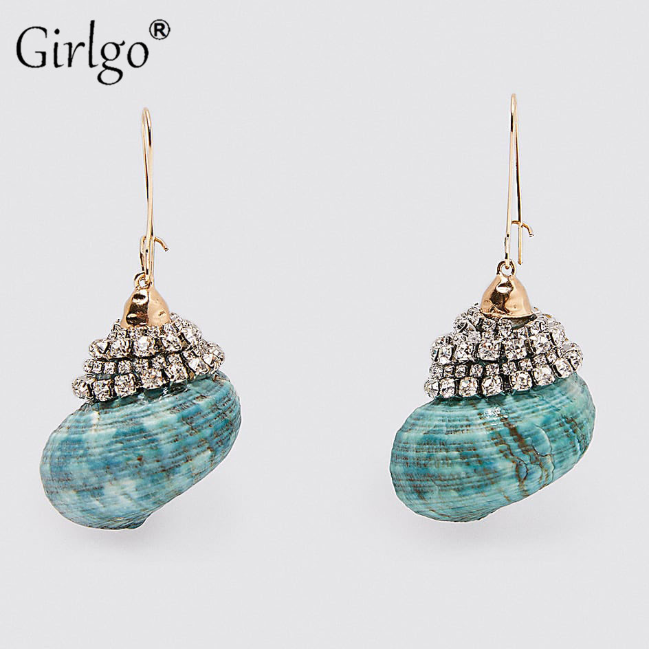 Girlgo Bohemian Fashion Summer Shell Drop Earrings For Women 2020 Vintage Hanging Dangle Pendant Earrings Jewelry Gift Wholesale
