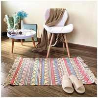Mrosaa Cotton and Linen Tassel Woven Carpet Floor Mat Door Living Room Bedroom Tapestry Blanket Tea Carpet Area Rug Home Decor