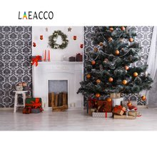 цена Laeacco Christmas Tree Gift Gray Fireplace Wreath Chair Wall Child Interior Photo Backdrops Backgrounds Photocall Photo Studio