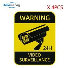 Alarm-Stickers Warning-Signs Video-Surveillance CCTV Waterproof Strong 4pcs Sunscreen