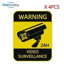Campainha babá á á prova d' água, 4 unidades cctv sinais de aviso de tela solar de vigilância vídeo adesivos forte autoadesivo design original