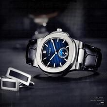 PLADEN montre à Quartz pour hommes, marque de luxe japonaise, robuste, bracelet en cuir véritable étanche, mouvement citoyen