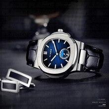 PLADEN יוקרה מותג יפני קוורץ זכר שעונים גברים חזק עמיד למים אמיתי עור רצועת אזרח תנועת קוורץ שעון יד