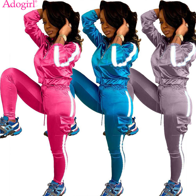Adogirl Reflective Strap Patchwork Women Tracksuit Casual Two Piece Set Long Sleeve Short Jacket Top Pockets Pants Sportswear