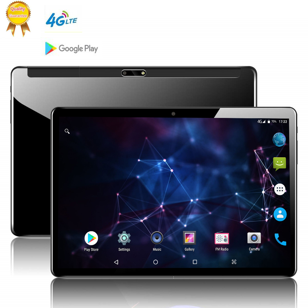 10.1 Inch Tablets PC Deca 10 Core 128GB ROM Dual SIM 8.0 MP GPS Android 9.0 Google IPS The Tablet 4G LTE Glass Back Shell