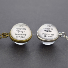 Sister Gift Always My Sister, Forever Friend Glass Ball Necklace Sisters Jewelry Friendship Gifts