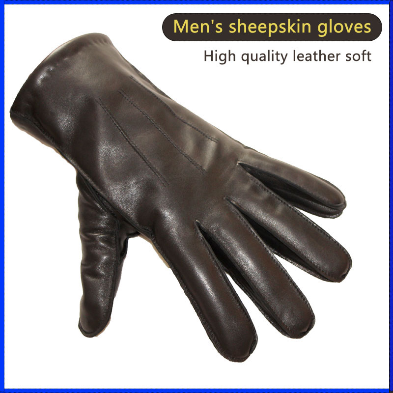 Leather Gloves Men's Sheepskin New Outer Seam Style Wool Lining Autumn Daily Wear Outdoor Riding Driving Gloves Free Delivery