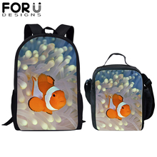 FORUDESIGNS 2Pcs Marine Animal School Bag Set for Kid Boy Fish Jellyfish Backpack Children Girls Bookbag Satchel Daypack