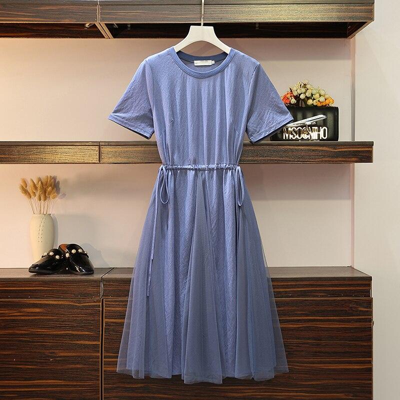 XL-4XL grande taille femmes tenue décontractée été 2019 mode à manches courtes cordon taille coton Patchwork maille robes a-ligne