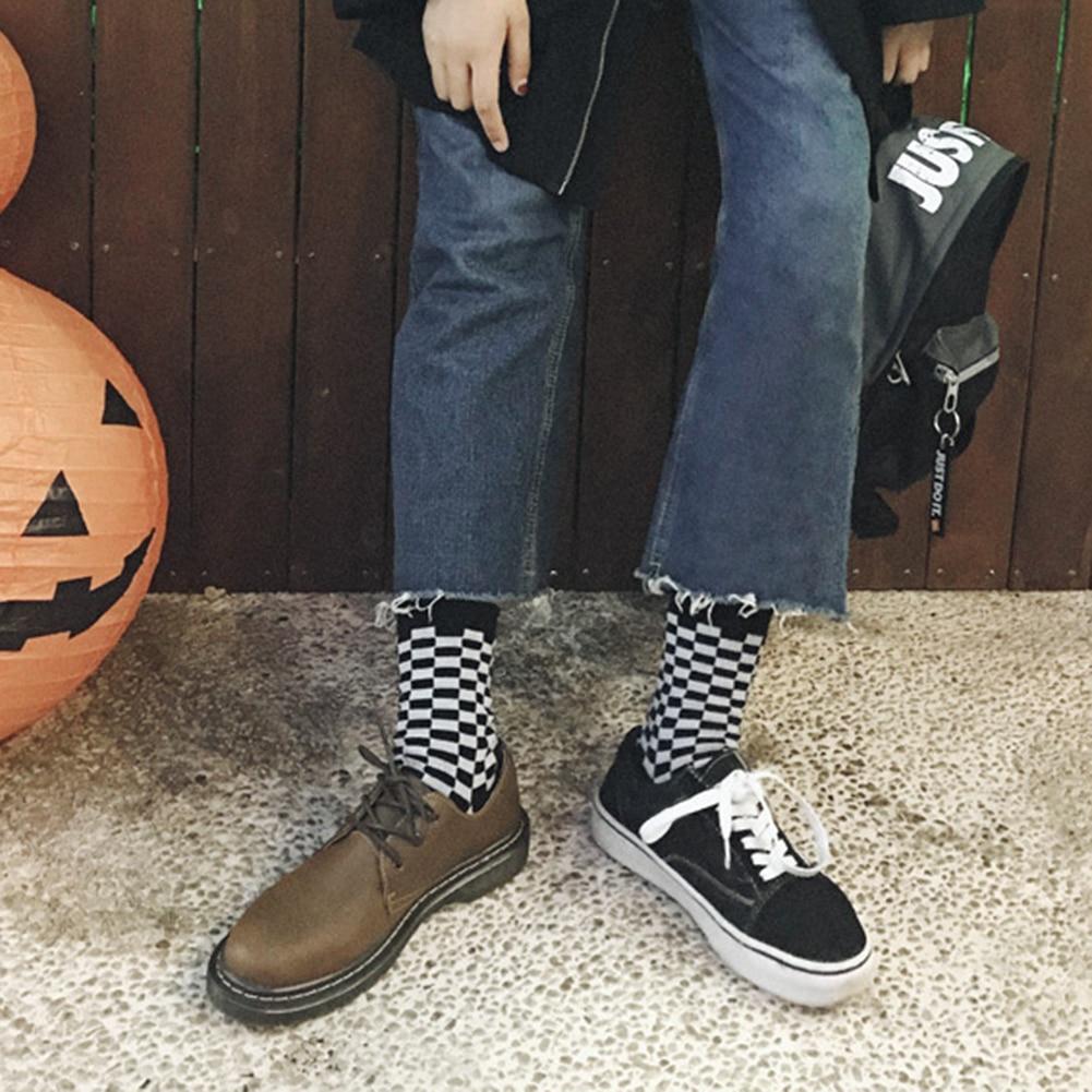 Korea Funky Checkerboard Harajuku Trend Spring Socks Unisex Geometric Checkered Socks Men Hip Hop Cotton Streetwear Novelty Sock