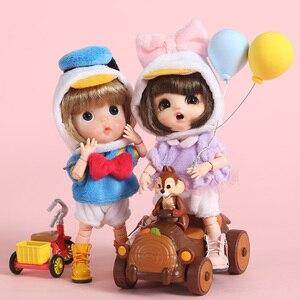 Image 2 - 新 3 個 = シャツ + 下着 + 帽子アヒル衣装洋服人形 ob11 、 obitsu11 、モリー、 1/12bjd 人形の服アクセサリー