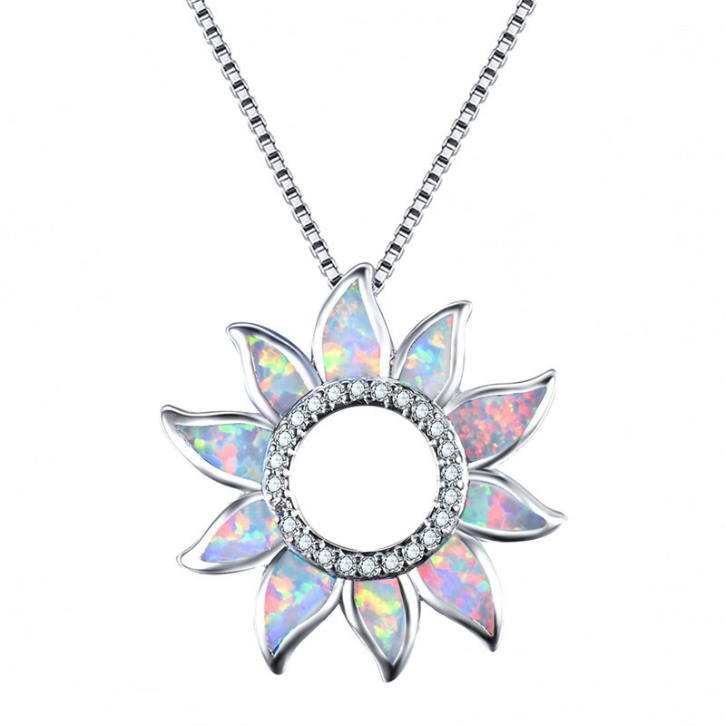 New fashion classic fire opal sun flower pendant necklace women chain bride wedding pendant necklace jewelry gift wholesale
