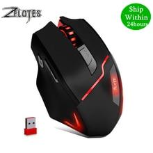 ZELOTES F 18 מצב כפול משחקים Mouse6 רמת 3200DPI 500Hz אלחוטי 7 צבע מחשב עכבר 2.4GHz עם מיני USB