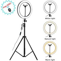 Светильник для фотосъемки со штативом и подставкой для камеры, для фотостудии, круглый светодиодный кольцевой светильник для селфи, лампа д...